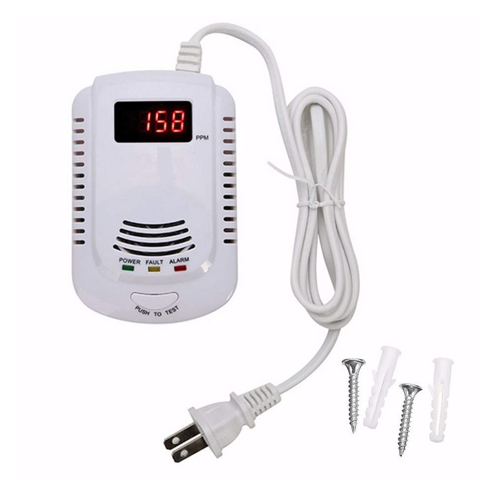 Detector De Fugas De Glp//Gas Natural//Gas De Carb/ón Detector De Gas Sensor Enchufable Monitor De Gas con Alarma Ac/ústica Y Pantalla Digital Led