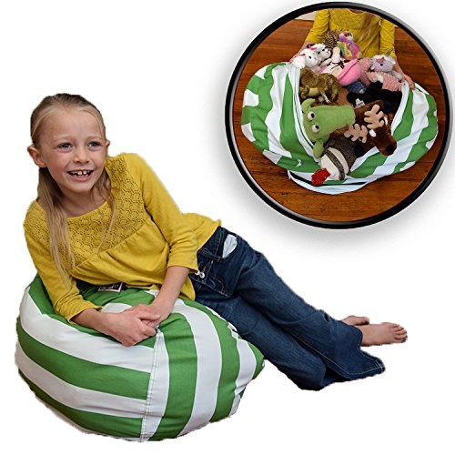 Stuffed Animal Storage Bean Bag Chair - Premium Cotton - Clean up the Room and Put Those Critters to Work for You! - By Creative QT