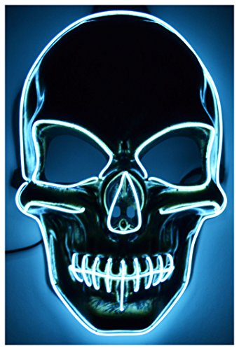 Not So Scary Halloween Party Costumes (GlowCity Light Up Skull Mask-Uses El Wire (White Skull Mask))