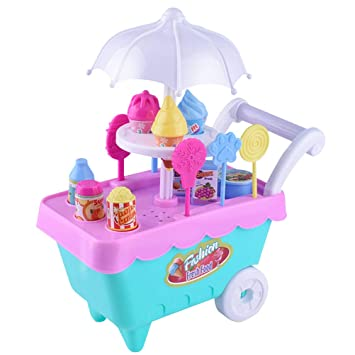 ... Simulation Candy Ice Cream Trolley Mini Pusher Car Toy Pretend Play Toy con Music Light niños y niñas (Color Aleatorio): Amazon.es: Juguetes y juegos