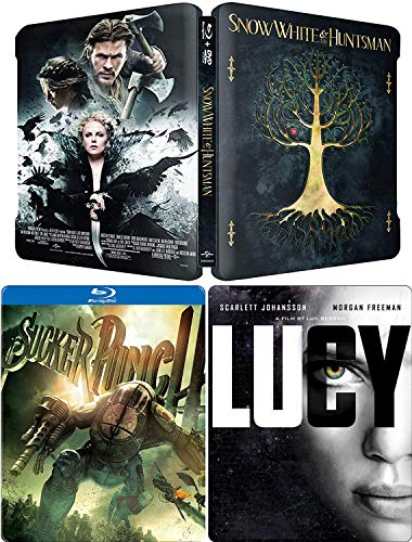 Steel Girls Triple Feature Snow White & The Huntsman + Lucy Steelbook DVD + Blu Ray T& Sucker Punch Action 3-Pack Limited Edition