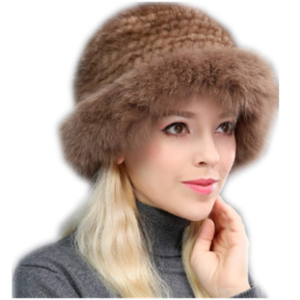 MH Bailment Womens Winter Hat Knitted Mink Real Fur Hats Fox Brim (One Size, Coffee)