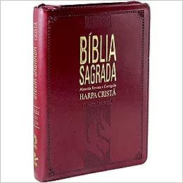 Bíblia Sagrada - Letra Grande com Harpa Cristã. Letras Vermelhas. Capa em Couro Sintético. Vinho