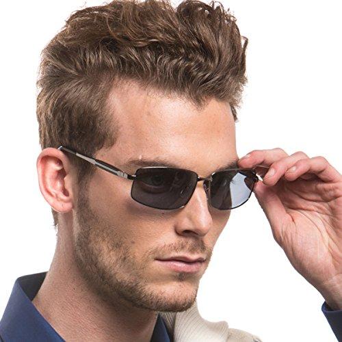 Mens Rectangular Metal Frame Polarized Sunglasses for Men Driving Fishing 100% UV Protection (gun/grey)