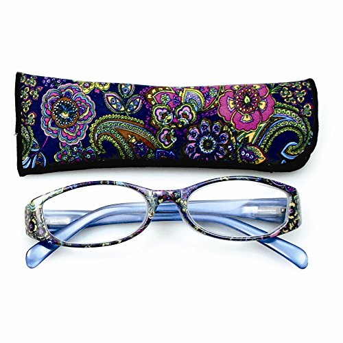 Price comparison product image Best Designer Jewelry Blue With Flower Print 2.25 Magnification Reading Glasses