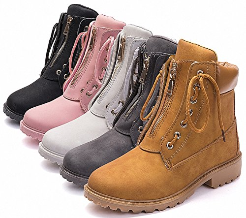 ZHENZHONG Women's Lace up Zipped Fur Lining Ankle Boots Snow Short Combat Booties