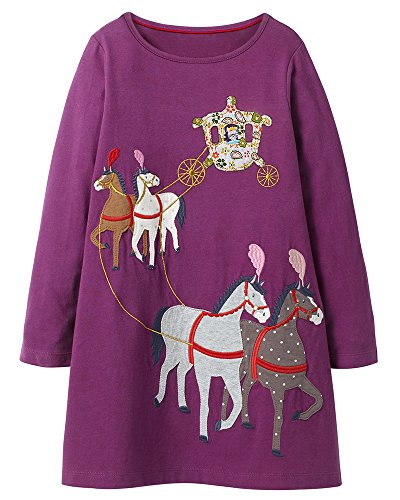 Toddler Little Girl Long Sleeve Tunic Dresses (Carriage, 7T(For 6-7years)) by Bumeex