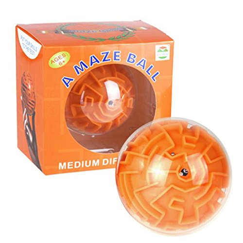 Marble Labyrinth - Children's Birthday Gift, Leewa Magic 3D Maze Ball Interesting Labyrinth Puzzle Game Challenging Three-dimensional Maze Toy Gift For Kids (Orange)