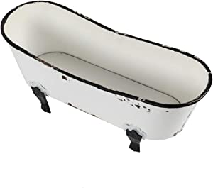 TG,LLC Treasure Gurus Rustic White Enamel Clawfoot Bath Tub Garden Planter Bathroom Soap Sponge Holder