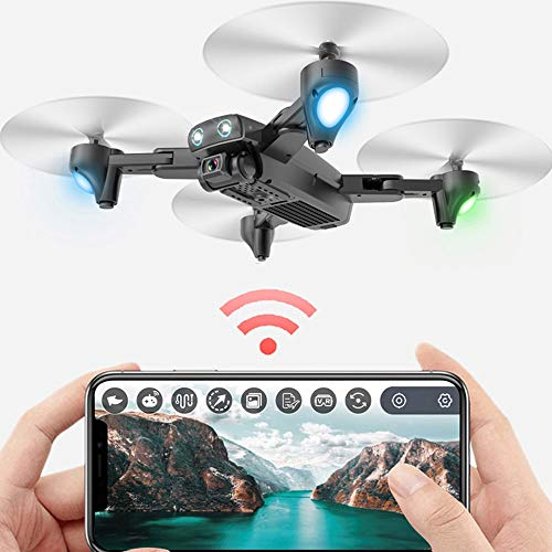WHWYY FPV Drone with 4K HD Camera and GPS Return Home RC Quadcopter with 120°Wide-Angle/5.8G Transmission/Altitude Hold/G-Sensor/3D Flips/Headless Mode/2 Modular Batteries/App Control