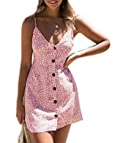 PRETTYGARDEN 2018 Women's Sexy V Neck Button Down Tie Back Floral Printed Spaghetti Strap Swing Short A Line Dress (Pink, Large)