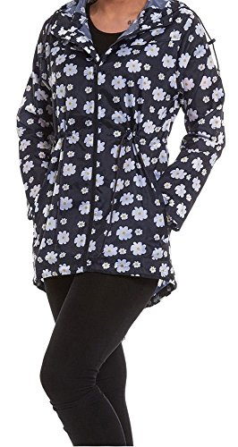 Womens Lightweight Hooded Zip Daisy Floral Rain Coat Jacket Kagool Cagoule Plus Size-Navy Daisy-XL