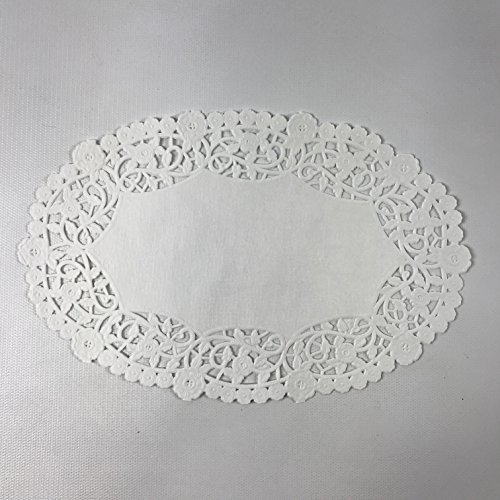 Black Cat Avenue 6'' x 9'' White Oval Lace Paper Doilies, 50 Count by Black Cat Avenue