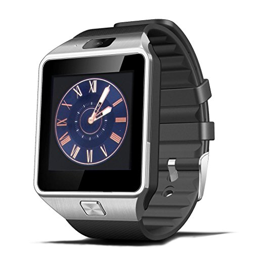 HAMSWAN® Bluetooth 3.0 1.56 Inch SIM Card Digital Android Smartwatch Men Women Sport Wristwatch for HTC/Sony/Samsung/LG/Moto Smart Phone (Silver)