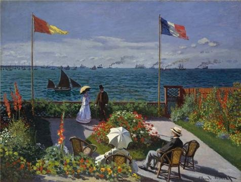 Oil Painting 'Garden At Sainte-Adresse, 1867 By Claude Monet', 12 x 16 inch / 30 x 40 cm , on High Definition HD canvas prints is for Gifts And Bar, - Center River Hours Valley