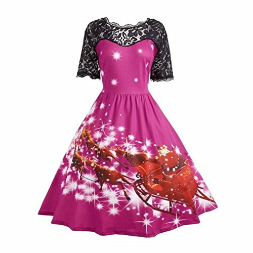Natale Vintage Signore Da Sera Vestire kword Elegante Principessa Abito Vestito Partito Donna Pizzo Caldo Swing Rosa Vintage w0q7t