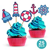 Nautical Party Cupcake Toppers - Birthday Wedding or Baby Shower Decorations Supplies - 25 Pieces
