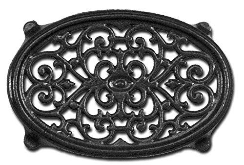 Matte Black Oval Filigree Steamer Trivet by John Wright Hearth