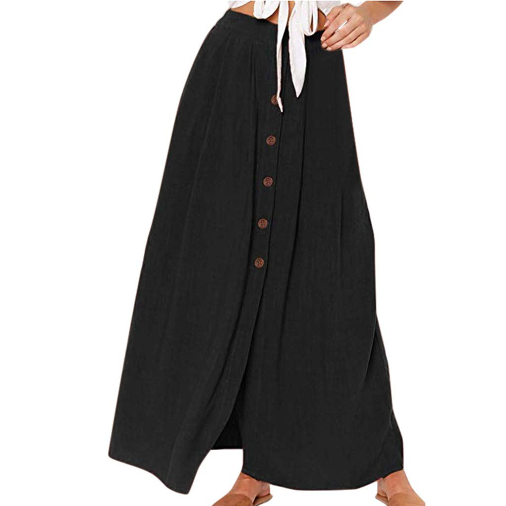 UCQueen Women Fashion Summer Casual Solid Color Button Fork Opening Hollowing Out Daily/Casual/Elegant Dress/Bottoms Skirt Black by UCQueen