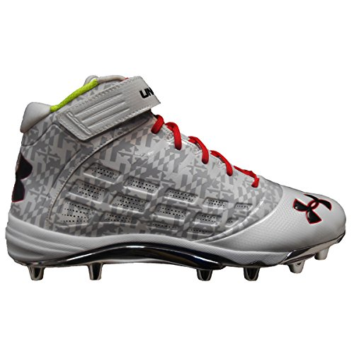 Under Armour Men's Team Fierce Com Wide Molded Football Cleat (14, White/White/Red) (Cam Newton Cleats White)