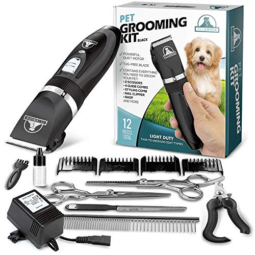 Pet Union Professional Dog Grooming Kit - Rechargeable, Cordless Pet Grooming Clippers & Complete Set of Dog Grooming Tools. Low Noise & Suitable for Dogs, Cats and Other Pets (Black)