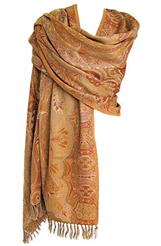 Desiree Paisley Merino Wool Shawl Wrap Throw Gold Brown