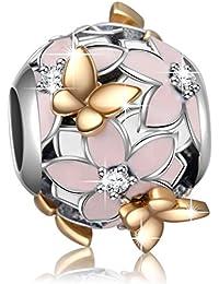 925 Sterling Silver Magnolia Bloom Enamel & CZ Charms Bead for European Bracelets Women Girl Gifts