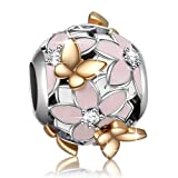 Angemiel 925 Sterling Silver Enamel Magnolia Bloom Charms with Gold Plated Butterfly for European Snake Chain Bracelets
