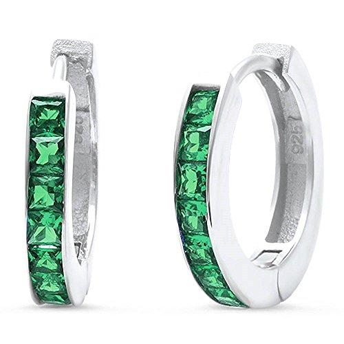 Hooop Earrings (14mm Hooop Huggies Earrings Half Eternity Princess Cut Simulated Emerald Green 925 Sterling Silver)