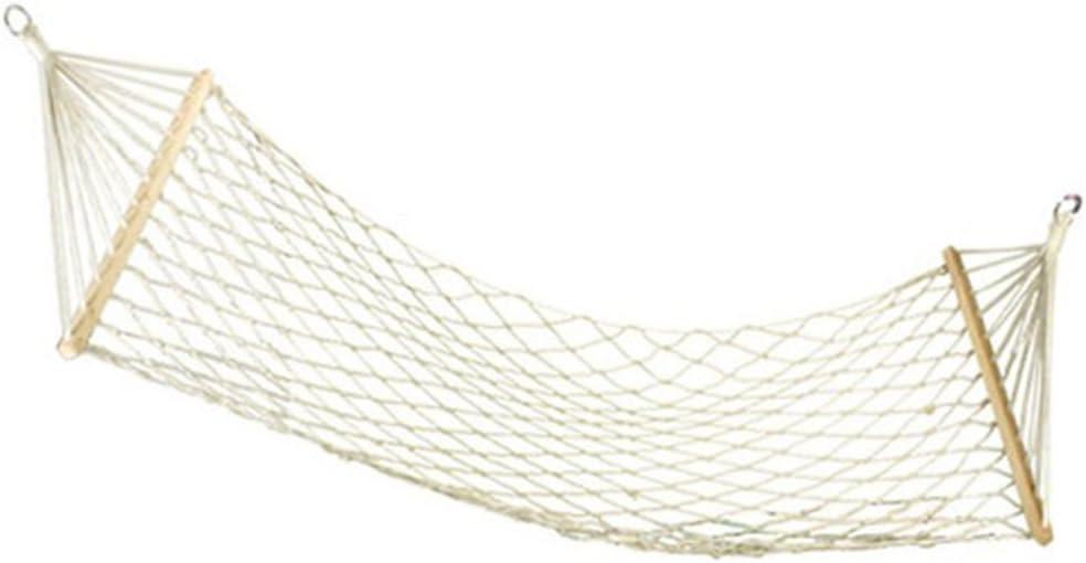 wei Hamaca De Madera Malla, Sola Cuerda del Algodón Blanca Silla Colgante Hamaca De Cuerda De Algodón De Ocio Al Aire Libre Viajes: Amazon.es: Deportes y aire libre