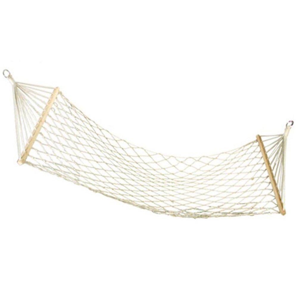 WEIWEI木製メッシュハンモック、シングル綿ロープホワイトHanging椅子アウトドア旅行レジャー綿ロープHammock B07BMKMW21