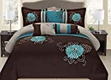 Fancy Collection 7-pc Embroidery Bedding Brown Turquoise or Purple Lavender Comforter Set (Cal King, Brown/Turquise)