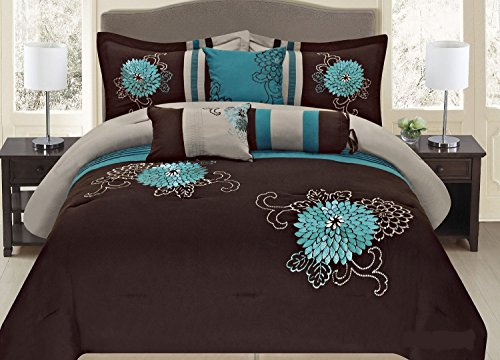 Fancy Collection 7-pc Embroidery Bedding Brown Turquoise or Purple Lavender Comforter Set (Cal King, Brown/Turquise) by Fancy Linen