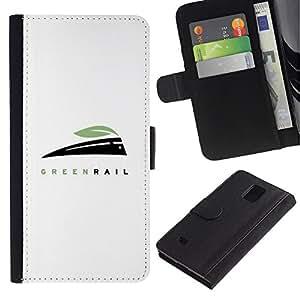 Billetera de Cuero Caso Titular de la tarjeta Carcasa Funda para Samsung Galaxy Note 4 SM-N910 / green rail / STRONG