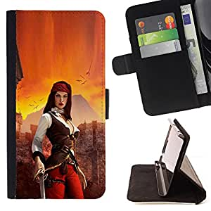 KingStore / Leather Etui en cuir / Sony Xperia Z3 Compact / Woman Pirate