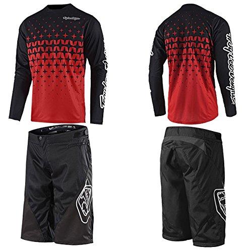 Troy Lee トロイリー 2018年 自転車用 Sprint スプリント ショーツ & ジャージ セット Megaburst [並行輸入品] 36 (約91cm)/XL ブラック/レッドブラック B07C86YL2K