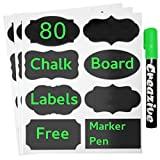 Chalkboard Labels - 80 Premium Removale Chalk Stickers with Chalk Marker Set - Large Size for Jars, Tins, Bottles, Bins, Pantry Storage - Best for Home, Office, Crafts by Creazive
