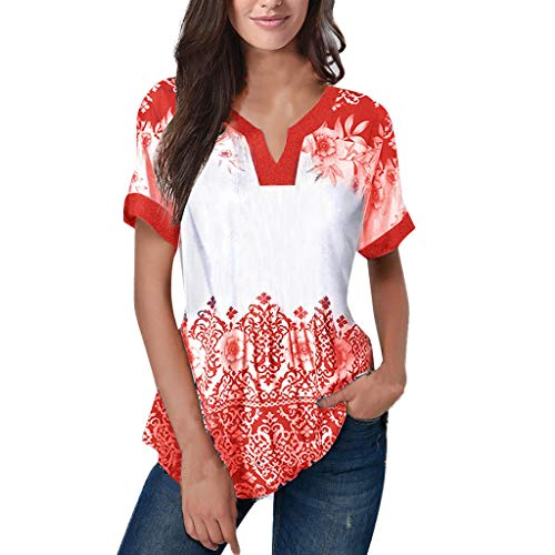 (Effulow Women Summer V-Neck Casual Short Sleeve Printed Floral Top Blouse Ladies Fashion Style T-Shirt Tops Orange)