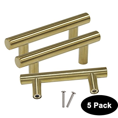 5 Pack Probrico Hole Center 2-1/2inch T Bar Brushed Brass Stainless Steel Kitchen Cabinet Hardware Handle For Furniture Kitchen Hardware Drawer Pulls Knobs Diameter 1/2 inch 1/2' 64mm Pull