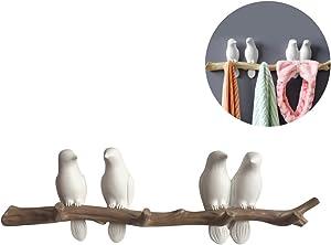 Evibooin Decor Wall Mounted Coat Rack | Birds On Tree Branch Hanger | for Coats, Hats, Keys, Towels, Clothes Storage Hanger (4 Hooks)