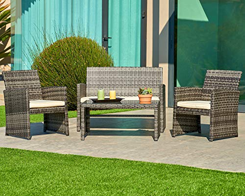 (SUNCROWN Outdoor Furniture Grey Wicker Conversation Set with Glass Top Table (4-Piece Set) All-Weather | Thick, Durable Cushions with Washable Covers | Porch, Backyard, Pool or Garden)