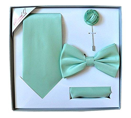 Men's Formal Aqua Pre-tied Bow Tie,Necktie,Lapel Pin & Hanky Set in Box by Brand Q