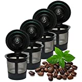 iPartsPlusMore 4 Pack Reusable K Cups For Keurig 2.0 & 1.0 Brewers Universal Fit Refillable Single Cup Coffee Filters Stainless Steel Mesh Filter