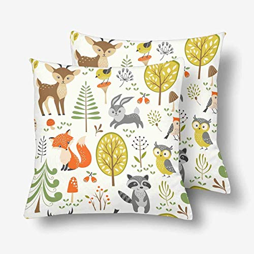 Brushed Canvas Mushroom - CHARMHOME Summer Forest Cute WoodlAnimal Tree Mushroom Berry 2-Pack Satin Pillow Covers Square Sofa Couch 16x16inch Pillowcase Brushed Microfiber Bedroom Cushion,