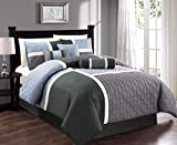 Collection 7-Piece Quilted Patchwork Comforter Set/Queen-Gray