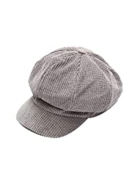 EsTong Womens Newsboys Hats Pleated Floppy Corduroy Cabbie Beret Cap