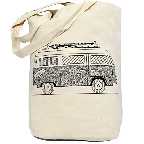California Tote Bag (Organic Tote Bag - 100% Cotton Canvas Beach Bag - VW Bus Shaka Hang Loose - Eco Fair)