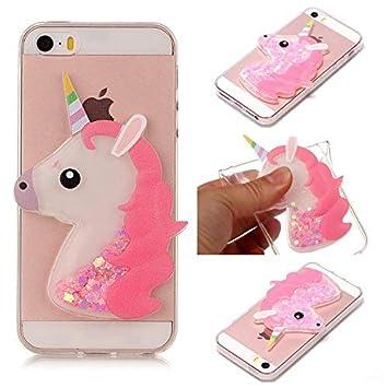 Funda iPhone 5S, Carcasa iPhone SE, Caselover 3D Bling Silicona TPU Unicornio Carcasas para iPhone 5S / SE / 5 Glitter Líquido Arena Movediza ...