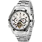 Forsining Men's Automatic Transparent Tourbillion Watch with Calendar Stainless Steel Bracelet FSG340M4T2