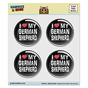 "Puffy Bubble Dome Scrapbooking Crafting Stickers - I Love My German Shepherd Stylish - Set of 4 - 2.0"" (51mm) Diameter Each"